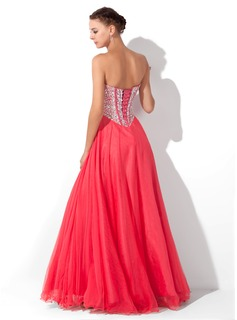 A-Line/Princess Sweetheart Floor-Length Tulle Prom Dresses With Beading