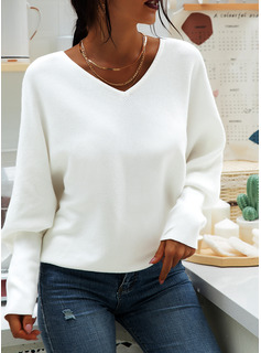 Solid V-Neck Batwing Sleeves Long Sleeves Casual Blouses
