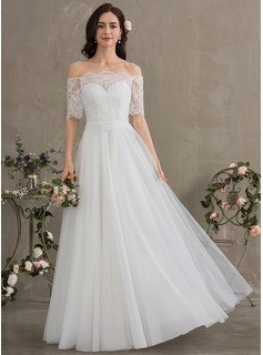 A-Line Off-the-Shoulder Floor-Length Tulle Wedding Dress
