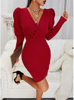 Solid Bodycon Long Sleeves Puff Sleeves Mini Little Black Party Elegant Dresses