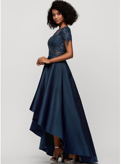 A-Line Scoop Neck Asymmetrical Satin Evening Dress With Beading Sequins