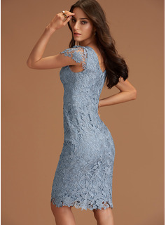 Scoop Neck Dusty Blue Lace Dresses