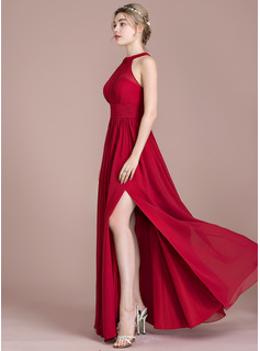 A-Line Scoop Neck Floor-Length Chiffon Prom Dresses With Ruffle Bow(s) Split Front