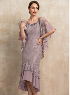 Trumpet/Mermaid Scoop Neck Asymmetrical Chiffon Lace Cocktail Dress With Beading Sequins
