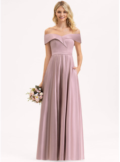 A-Line Off-the-Shoulder Floor-Length Satin Bridesmaid Dress With Pockets
