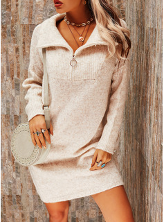 Lapel Casual Long Solid Sweaters
