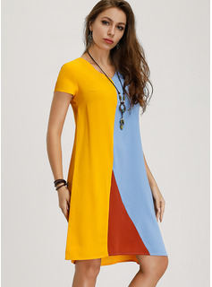 Color Block Shift Short Sleeves Midi Casual T-shirt Dresses