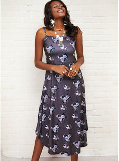 Floral Print Backless Shift Sleeveless Asymmetrical Casual Type Dresses