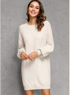 Round Neck Casual Long Solid Chunky knit Sweaters
