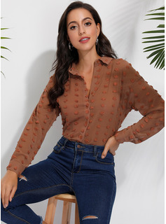 Solid Long Sleeves Polyester Lapel Shirt Blouses Blouses