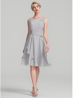 A-Line/Princess Scoop Neck Knee-Length Chiffon Cocktail Dress With Beading Cascading Ruffles