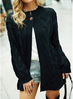 Casual Long Solid Cable-knit Chunky knit Sweaters