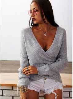 V-Neck Casual Solid Ribbed Sweaters