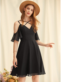 A-line V-Neck Short Sleeves Midi Back Details Romantic Sexy Dresses