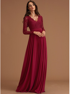 Lace V-Neck Long Sleeves Maxi Dresses