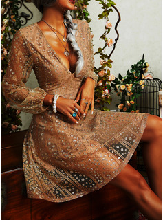 Sequins A-line Long Sleeves Mini Party Vacation Skater Dresses