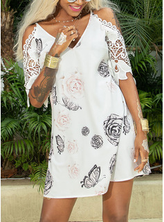 Animal Print Floral Lace Shift 3/4 Sleeves Cold Shoulder Sleeve Mini Casual Elegant Tunic Dresses