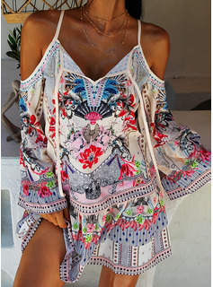 Floral Print Shift Cold Shoulder Sleeve Flare Sleeve Long Sleeves Mini Boho Casual Vacation Dresses