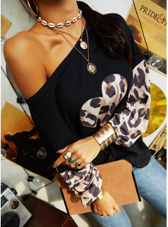 Leopard Print One Shoulder Long Sleeves Casual Blouses