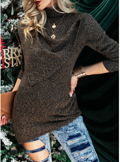 Turtleneck Casual Asymmetrical Solid Sweaters