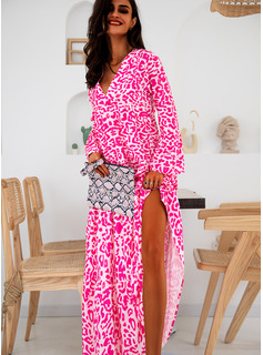 Floral Print Shift Flare Sleeve Long Sleeves Maxi Casual Vacation Tunic Dresses