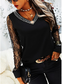 Beaded Lace V-Neck Long Sleeves Casual Blouses