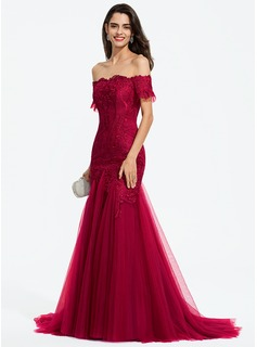 Trumpet/Mermaid Off-the-Shoulder Sweep Train Tulle Prom Dresses