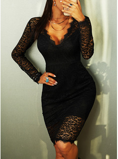 Lace Solid Bodycon Long Sleeves Midi Little Black Party Elegant Pencil Dresses