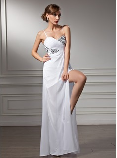 Sheath/Column Sweetheart Asymmetrical Chiffon Prom Dresses