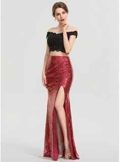 Trumpet/Mermaid Floor-Length Sequined Prom Dresses With Split Front