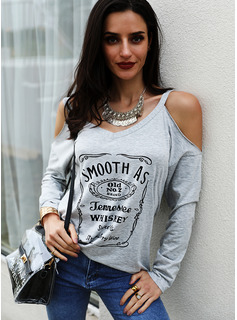 Figure Print Cold Shoulder Long Sleeves Casual Blouses