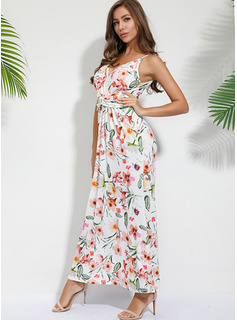 Floral Print A-line Sleeveless Maxi Vacation Skater Dresses