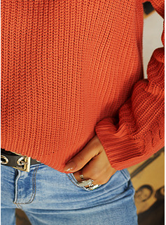 Round Neck Casual Solid Cable-knit Chunky knit Sweaters