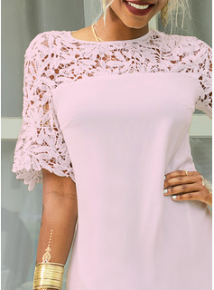 Lace Solid Shift Short Sleeves Mini Casual Elegant Dresses