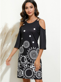 Above Knee Round Neck Polyester Print Cold Shoulder Sleeve Fashion Dresses
