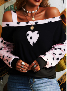 Patchwork Print One Shoulder Long Sleeves Casual Blouses