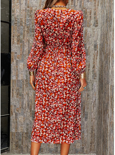 Floral Print A-line Long Sleeves Midi Casual Skater Dresses