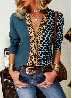 Leopard Print Lapel Long Sleeves Casual Shirt Blouses