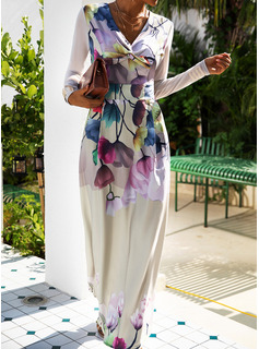 Floral Print A-line Long Sleeves Maxi Party Elegant Skater Dresses