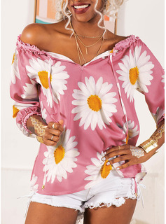 Print Floral Long Sleeves Polyester Off the Shoulder Blouses