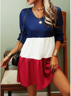 Color Block Shift Long Sleeves Mini Casual Tunic Dresses