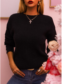 Round Neck Casual Solid Ribbed Sweaters