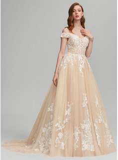 Ball-Gown/Princess Off-the-Shoulder Sweep Train Tulle Prom Dresses With Beading Sequins