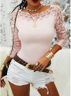 Lace Solid Round Neck Long Sleeves Casual Blouses