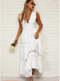 Lace Solid Hollow-out A-line Sleeveless Maxi Casual Vacation Skater Dresses