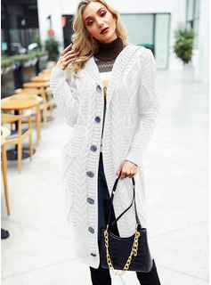 Hooded Casual Long Solid Cable-knit Chunky knit Pocket Sweaters