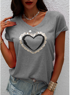 Print Sequins V-Neck Short Sleeves Casual T-shirt