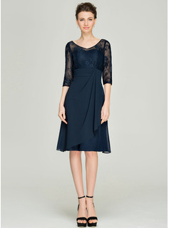 A-Line V-neck Knee-Length Chiffon Lace Mother of the Bride Dress With Cascading Ruffles