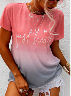 Tie Dye Print Round Neck Short Sleeves Casual T-shirt