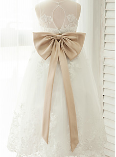 A-Line/Princess Scoop Neck Ankle-Length Tulle Junior Bridesmaid Dress With Sash Bow(s)